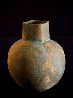"John Ward, Round Square-necked Pot, Handbuilt stoneware 13.5"" high | #ceramics #pottery"
