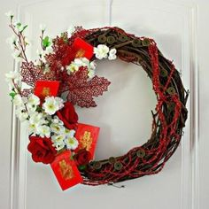 February festival: Autumn Harvest Wreath - Celebrate Chinese Moon Festival and Chinese New Year Chinese New Year Flower, Chinese New Year 2016, Chinese New Year Decorations, New Years Decorations, New Year's Crafts, Diy And Crafts, Chinese Moon Festival, Deco Nouvel An, Asian New Year