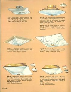 Vintage Virden lighting - 52 page catalog from 1959 - Retro Renovation Ceiling Light Covers, Ceiling Lights, Beauty Lamp, 1950s Furniture, Retro Renovation, Types Of Lighting, Art Decor, Decor Ideas, Vintage Lighting