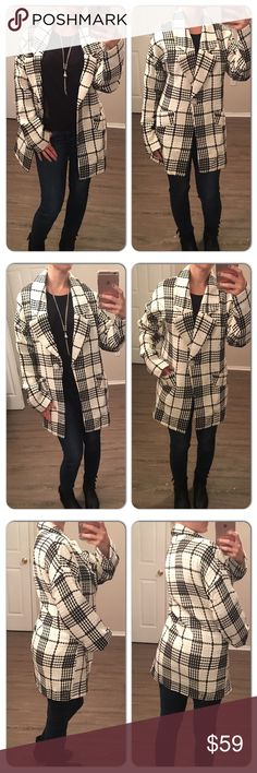 Gorgeous Black & White Plaid Jacket In love with this jacket! Beautiful Black & White Plaid Jacket/Coat with large single button and 2 small pockets. Jackets & Coats
