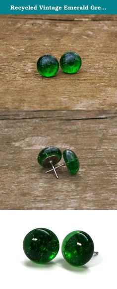 """Recycled Vintage Emerald Green Beer Bottle Simple Post Earrings. Bottled Up Designs, from antique glass and bottles reclaimed from the wooded habitats and rural farmlands in and around the Pennsylvania Amish Country! From the broken remains of vintage 1970's emerald green beer bottles, glass has been gathered and pounded down, then fired in our own unique process! Glass has been fired into 1/2"""" """"gems"""" and is mounted on surgical steel posts. Each piece of Bottled Up Designs includes """"The..."""