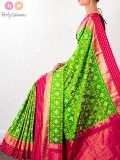 #Green #Handwoven #Katan #Silk #Pochampally #Saree #HolyWeaves
