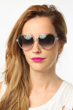'Drew' Oversized Transparent Heart Sunglasses - Pink - 5215-4