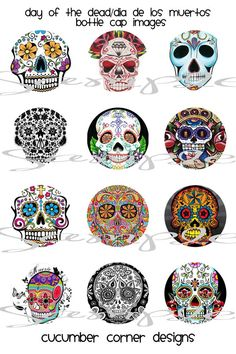 Day of the dead/ Dia de LOS MUERTOS 1 inch Digital Collage Images/sheet 4x6 for Bottlecaps, Charms, Hairbows, Jewelry, Magnets and More
