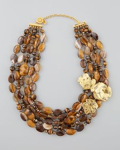Jose & Maria Barrera Agate & Tiger's Eye Bib Necklace - Neiman Marcus