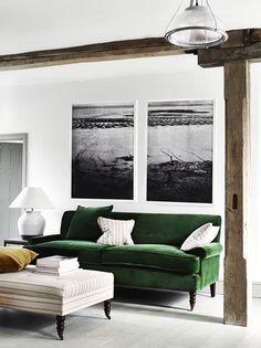 Neptune George medium sofa in Isla Mallard velvet and Arthur large footstool in Jack Mustard linen
