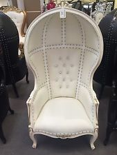 White Queen Anne Wedding Porters Canopy Bonnet Dome Balloon Bridal Throne Chair