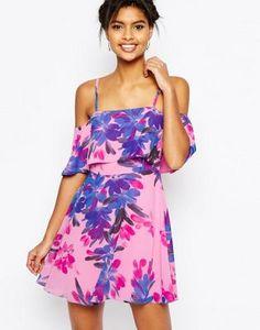 ASOS Cold Shoulder Floral Mini Dress