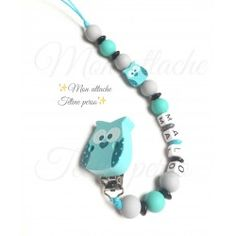 Attache tétine - clip hibou turquoise
