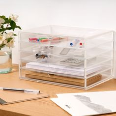 5 Drawer Acrylic Unit A versatile box with 5 pull out drawers that can be used to store make-up, stationery, haberdashery items or jewellery. Measurements are 26cm x 17.5cm x 16cm