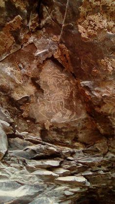 Siete luminarias del Valle de Santiago Guanajuato.  Pintura rupestre en una cueva de la Hoya de la Cítora.