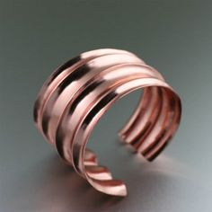 Get your diva on with this must-have piece. This bold Fold-formed Copper Cuff Bracelet is a conversation starter on its own, but coupled with its highly polished surface and unique ridges it will definitely catapult you to center stage where ever you go. Copper Cuff, Copper Jewelry, Jewelry Art, Beaded Jewelry, Jewelry Design, Jewelry Ideas, Copper Gifts, Handmade Copper, Handcrafted Jewelry