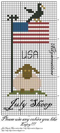 Patriotic sheep cross stitch from Nicky's creations