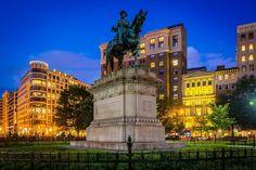 Statue of Major General James B. McPherson at McPherson Square at night, in Washington, DC.