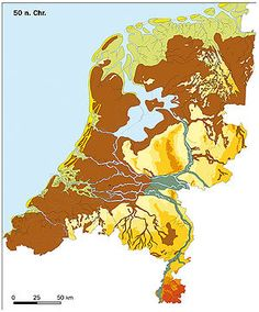 Dit is Nederland in de Prehistorie. Historical Pictures, Historical Maps, Early World Maps, Holland Map, Dutch Republic, Hellenistic Period, Classical Antiquity, Water Management, Old Maps