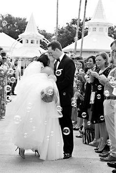 We adore this wedding bubbles send off at Disney's Wedding Pavilion