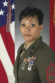 Avril M. King, Master Gunnery Sergeant is a high-rank officer in the U. Marine Corps and currently serves as the Senior Enlisted Marine Corps Advisor to the Department of the Navy's Sexual Assault Prevention and Response Office. Female Marines, Female Soldier, Women Marines, Marine Corps, Department Of The Navy, Military Women, Military Gear, Once A Marine, Black History Facts