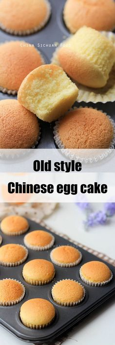 Baked egg cake More<br> Old-styled Chinese egg cake Cupcake Recipes, Baking Recipes, Dessert Recipes, Dessert Cups, Asian Desserts, Just Desserts, Chinese Desserts, Egg Desserts, Cupcakes
