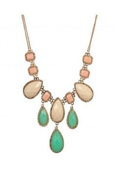 Party Style Diva Cream and Green Stone Bubble Lariat Necklace