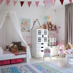Canopy bed and bedroom decor idea for little girls.