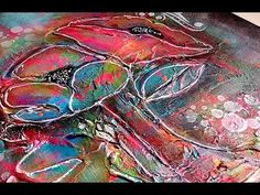 Mixed Media Abstract Flowers with Dina Wakley Media Acrylic Collage Art Mixed Media, Mixed Media Canvas, Art Journal Tutorial, Collage Techniques, New Media Art, Mixed Media Tutorials, Visionary Art, Abstract Flowers, Video Tutorials