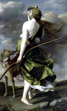 "Diana the Huntress, by Orazio Gentileschi, second quarter of the 17th century. Oil on canvas; 135 x 215 cm (53.1 x 84.6""). Depicts Diana, goddess of the hunt and the moon in Roman mythology"