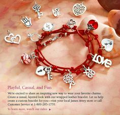Playful, Casual, and Fun - - We're excited to share an inspiring new way to wear your favorite charms. Create a casual, layered look with our wrapped leather bracelet. Let us help create a custom bracelet for you - visit your local James Avery store or call Customer Service at 1-800-283-1770.