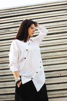 FREE SHIPPING / White Asymmetric Shirt / Extravagant by Fraktura