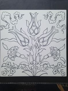 Embroidery Pattern of Turkish Tulips and Carnations. Jacobean Embroidery, Folk Embroidery, Embroidery Patterns, Cross Stitch Patterns, Turkish Pattern, Arabic Pattern, Pattern Drawing, Pattern Art, Tuile