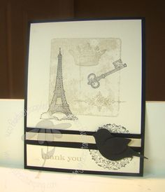 "♥ the cute ""Builder Bird Punch"" by SU, matched back with the Eiffle Tower stamp from the Stampin' Up! stamp set ""Artistic Etchings"".  Card by Jaydee."