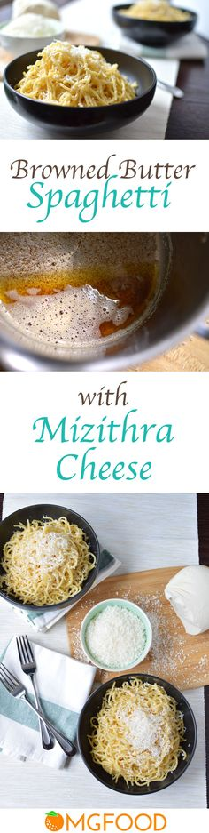 Spaghetti with Browned Butter and Mizithra Cheese - Made with just 3 ingredients! Brown butter and mizithra are a delicious combo in this pasta dish.