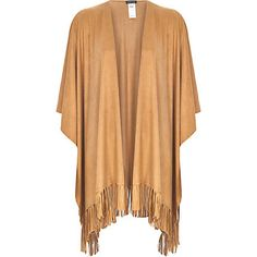 Camel faux suede fringed cape £40.00
