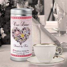 Heart themed tea tins wedding or shower favors