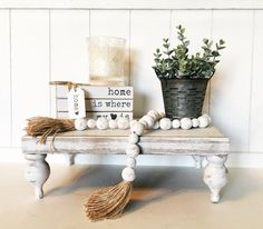 Rustic Farmhouse, Rustic Wood, Rustic Decor, Bed Tray, Wood Pedestal, Serving Tray Wood, White Wood, White White, Black Wood