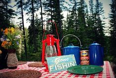 Camping- table- use lanterns and camping dishes