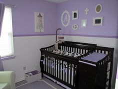 #Purple and #white are a great combo in this elegant #nursery.
