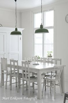 pendant lights, mismatched chairs (obviously I would paint them colors!)