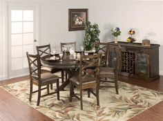 Savannah Antique Charcoal Wood 60 Inch Round Table W/Lazy Susan