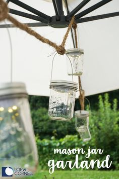 Looking for a fresh dose of decorating inspiration? We've got just the answer with this project idea for DIY Mason Jar Garland. Simply grab a few craft supplies like rustic twine, glass jars, Transform Mason LED Lighted Lid Inserts, and Transform Mason Wide Mouth Wire Handles and get creating! You'll love how your patio will transform into a dreamy outdoor space for summer entertaining— thanks to this string of charming mood lighting.