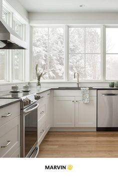 New England Farmhouse, Classic White Kitchen, Building A New Home, Fireplace Surrounds, White Windows, White Farmhouse Kitchens, Kitchen, Modern Family, Birch Floors
