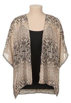 Fringe sleeve printed kimono (original price, $29) available at #Maurices
