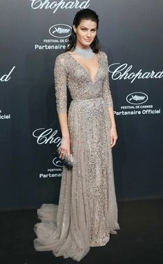 Isabeli Fontana in a silver grey beaded Elie Saab gown #Cannes2015