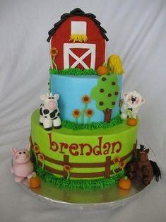 Barn birthday cake for Bren! Barnyard Cake, Barnyard Party, Farm Cake, Farm Party, Farm Animal Cakes, Farm Animal Party, Farm Animals, Farm Birthday Cakes, 2nd Birthday Parties