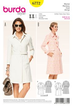 Burda View A: 2 yd 3 + lining, 1 yd. redefined classic designs, two different looks. the new naturalness of a poplin coat or the compelling variant with eye-catching web-print and rearward box pleat. both will find their lover. Burda Sewing Patterns, Coat Pattern Sewing, Coat Patterns, Jacket Pattern, Clothing Patterns, Dress Patterns, Couture, Boucle Jacket, Raincoats For Women