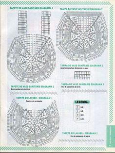 crochet blue bathroom set lcb mrs with diagrams - PIPicStats Crochet Sole, Crochet Chart, Crochet Motif, Crochet Designs, Crochet Doilies, Knit Crochet, Crochet Patterns, Crochet Handbags, Crochet Purses