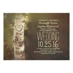 Charming rustic country wedding invitation with birch tree and carved love heart in the bark. Perfect fabulous invite for countryside or rustic wedding themes. -------Please contact me if you have question regarding this design or have a custom color request. ----------- If you push CUSTOMIZE IT button you will be able to change the font style, color, size, move it etc. it will give you more options! Rustic country save the date with birch tree postcard by jinaiji birch tree rustic country…