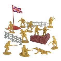 WWII - British Infantry Plastic Army Men: 38 piece set of 54mm Soldier Figures with Accessories - 1:32 Scale by Hing Fat. $8.89. Size: Figures stand up to 2.1 inches tall (54mm). Sand Bag Bunker, Union Jack Flag, 2 Barbed Wire Fences. Scale: Approximately 1:32. Packaging: Plastic Bag with Header Card. 34 Mustard Yellow Plastic British Soldiers. World War II British Tommy 38 piece set includes 34 soldiers in about 12 different poses, a sand bag bunker, two 4 in...
