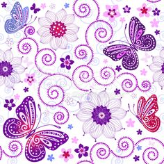 floral seamless grunge pattern with flowers and butterflies (vector) Butterfly Template, Butterfly Pattern, Butterfly Flowers, Butterfly Design, Butterfly Project, Purple Butterfly, Vector Background, Background Patterns, Textured Background