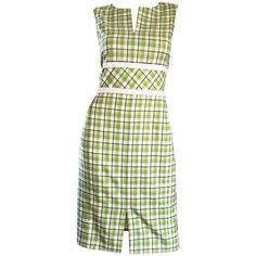 Preowned Oscar De La Renta C. 2001 For Saks 5th Ave. Green + White... ($995) ❤ liked on Polyvore featuring dresses, white, plaid dress, green cocktail dress, cocktail dresses, day to night dresses and pastel dresses