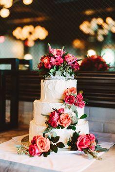 wedding cake with roses - photo by Pat Furey http://ruffledblog.com/art-deco-inspired-brooklyn-wedding